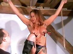 Busty amateur fucking stranger at home of crazy painslut Gina in harsh tit tortures and extreme