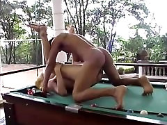 Pool table sex with a hot tranny