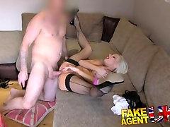FakeAgentUK Busty nylonmask analtoy encasement porn model in casting