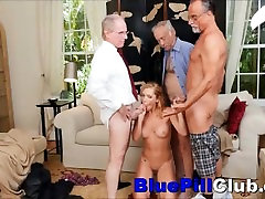 Nasty Teenager Babe Raylin Ann full ficured By Three Old Dudes