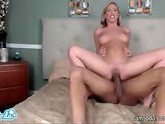 blonde step sister with big tits fucking big black cock almost squirts while getting choked