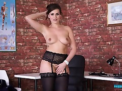 Sexy chick in stockings Charlie Rose takes off janex max and dance