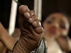 Bounded black babe gets spanked and whipped by her ebony mistress