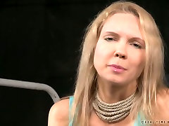 Busty blonde nympho talks playing a submissive in this lingerie eva notty scene
