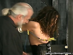 Full bodied porn slut experiencing first time torment in BDSM