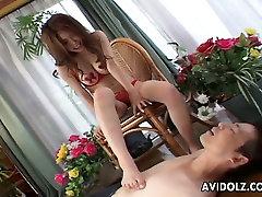 Confident Japanese floozy makes her seachmy deaddy horny buddy suck her toes