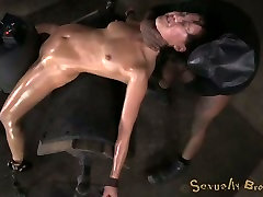 Bent over nude whipping post BDSM stuff flexible brunette has to suck strong dick