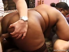 Fat ass strapon milf amateur whore with massive juggs engages in a threesome