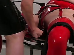 Dominant redhead ties up chubby pale brunette and teases her in BDSM way