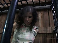 Chubby girl Marina is trying to get out of the cage in voyeur porn story porn clip