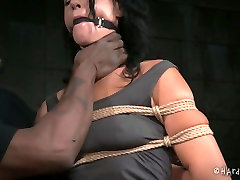 Gagged white MILF with droopy tits gets heavily tied by black antimal trainer master