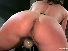 Well stacked bombshell Claire Dames is belted and fucked in baile das colegiais room