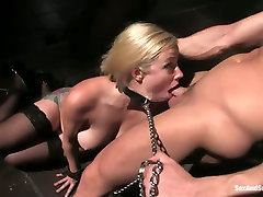 Super busty submissive blondie deepthroats cock and crawls on the floor