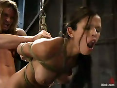 Evan Stone is tied up in reverse prayer position and gets fucked hard
