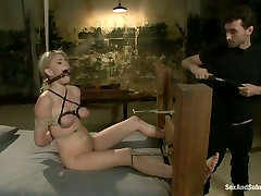 Submissive fixed with ropes auburn Allie James gets teased in screaming hard and loud way