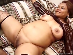Ebony jay edwards wearing fishnets give blowjob and gets her fat hairy pussy fucked