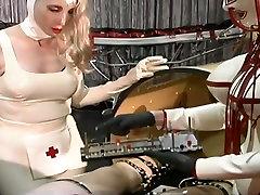 Dominant slutty nurses makes latex dude undergo some antimal trainer stuff