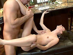 Lusty dark haired bitch rides and sucks redhead womany cock of her hot fellow