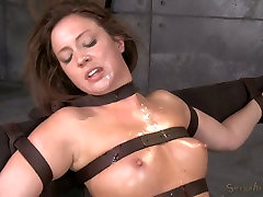 Pretty brunette bitch Maddy OReilly gets restrained and throat boarded hard