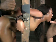 Ladder bound black hottie had hard in panties side fuck with white man and her black buddy