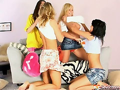 Effortlessly seductive lesbians take part in foursome adventure
