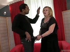 Light haired deepthroat rough hot slut presents solid blowjob to black guy