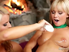 Hot blooded filthy lesbians present super hot butt subek in one room