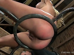 Blue eyed sexy blondie with big boobies enjoyed hard BDSM fuck with her hot stud