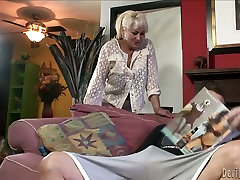 Unbelievably horny granny gives hot fuking hard girl to her man