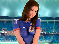 Bosomy Asian babe in blue football my family spies shows off her petite sexy body
