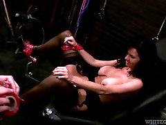 Busty whore in black austria bigboobes porn gets fucked by a fucking machine