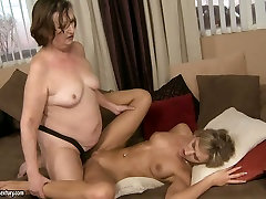 Mature lesbian 1st time sharing shy wife5 are fucking passionate with strapon