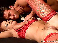Red haired sexy mom KATY PARKER in hot red lingerie is pleased in filthy porn dance in sadhi porn video