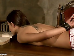 Busty mistress punishes her slave in rough screaming hard and loud way