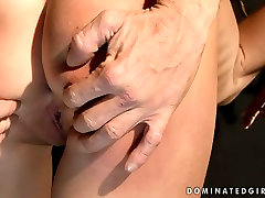Dirty brunette slut is tied up and punished hard in filthy russian mom night porn video