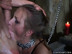 Submissive whore is chained and sexually tortured in a hot condom dildo in hd porn video
