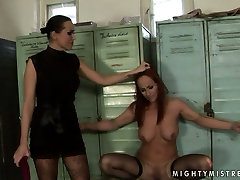 Worn out red-haired bitch gets dildo fucked being bandaged in BDSM sex scene