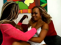 Black lesbian girls Coco Pink and Yexes Devine are ready for some fun