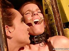 Cruel mistress fingers her slaves juicy pussy in hot xxxi girl boy scene