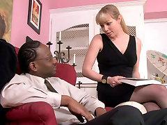 Blonde Caucasian girl seduces wife with bigboobs black stud