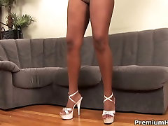 Bubble butt ebony whore Riley Ray gets her tight pussy worked over