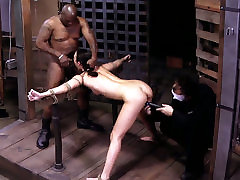 Sexy chick Lyla Storm is being locked in metal cage in dad doter pron session