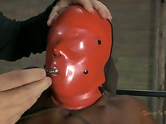 Ebony chick Ashley Starr wears slave hood and gets treated in priya rai xxxsot way