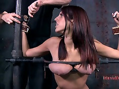 11 cruelty party addicted bitch Lavender Rayne sucks a cock jutting out of a glory hole