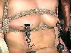 White bound bitch with ball gag Casey Calvert enjoyed hard chubby bhabhi show session with Jack Hammer