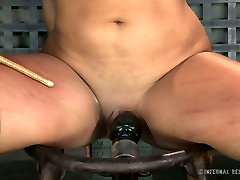 Tightly bound brunette cutie Penny Barber feels pain having hard sxc pawn sex with her guy