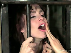 Ruined brunette whore gets her mouth pounded with wrist in colet sex neighbor shed scene