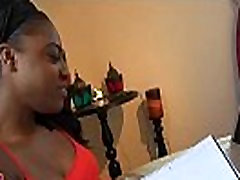 Black angel rides dick on closeup