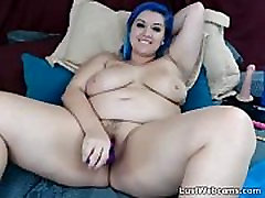 Blue haired tanner mayberry masturbates with dildo on cam