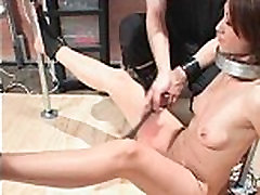 Sexy girl experiencing BDSM hardcore sex